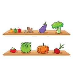 Fruits at the wooden shelves vector image