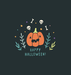 Funny jack o lantern halloween greeting card vector