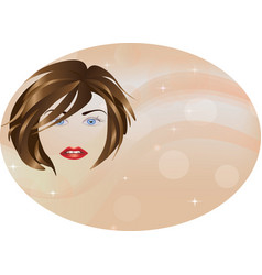 girl face on pink circle background vector image