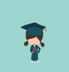 Girl graduated pupils drawing by hand vector