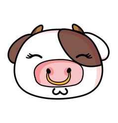 Glad cow head wild animal vector