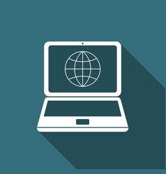 Globe on screen of laptop icon with long shadow vector