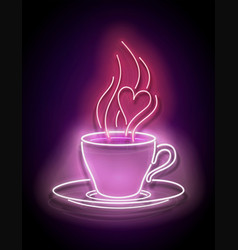glow cup coffee with steam vector image