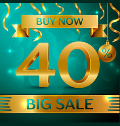 Gold big sale forty percent for discount vector