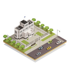 Government building area isometric composition vector