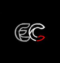 Grunge white red black alphabet letter ec e c vector