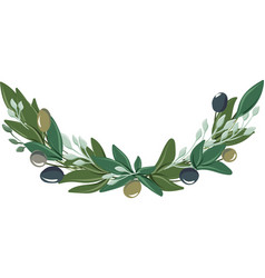 Half-round wreath with olive leaves and olives vector