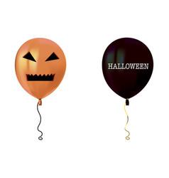Halloween air flying balloons scary pumpkin face vector