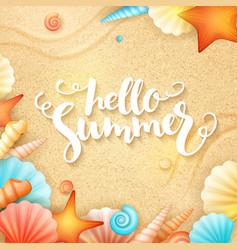hand lettering summer text - hello summer vector image