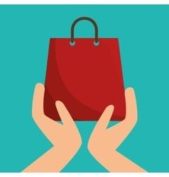 Hands holding a shopping bag vector
