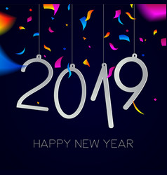 Happy new year 2019 night party confetti card vector