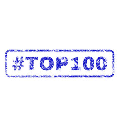 Hashtag top100 rubber stamp vector