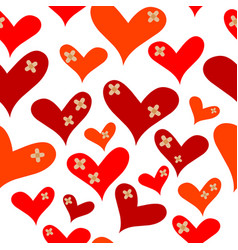 hearts with medical plasters vector image