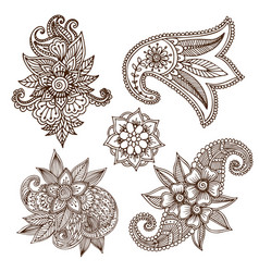 Henna tattoo mehndi flower doodle ornamental vector