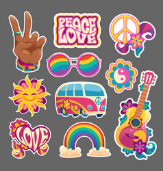 hippie stickers or icons hand gesturing victory vector image