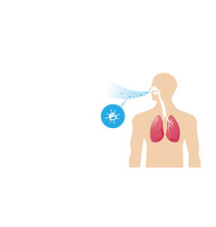 human body with lungs affected virus cells vector image