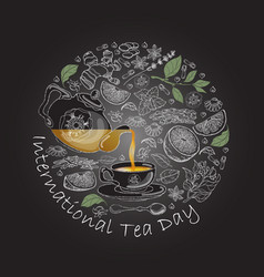 International tea day circle vector