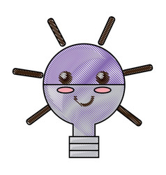 kawaii light bulb vector image