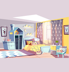 Kid modern room interior vector