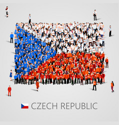 large group people in shape czech flag vector image