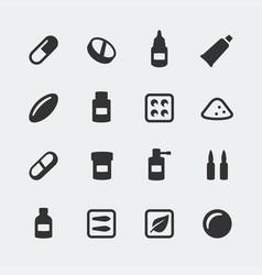 medications mini icons set vector image