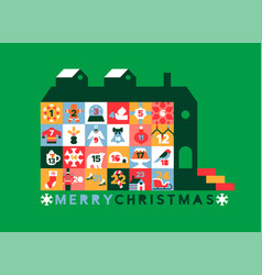 Merry christmas retro advent calendar house icon vector