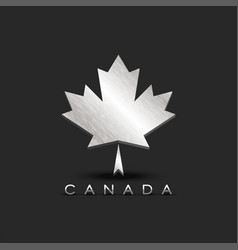 metallic maple leaf emblem canada with 3d vector image