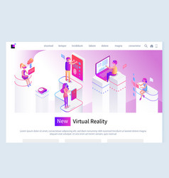 new virtual reality people internet with glasses vector image