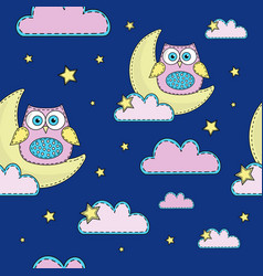 night owl cartoon seamless pattern color vector image