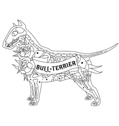 Outline Bull Terrier vector
