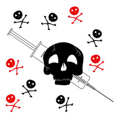 pattern with the image of jolly roger with a vector image