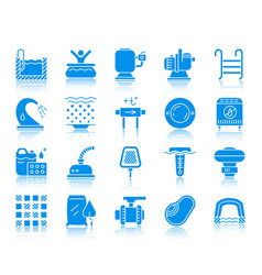 pool equipment color silhouette icons set vector image