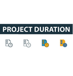 project duration icon set four simple symbols in vector image