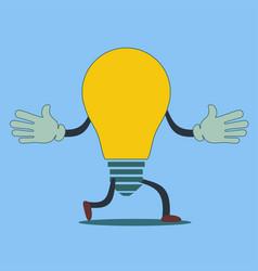 quick idea a running light bulb vector image