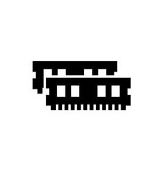 Ram memory black icon on white background vector