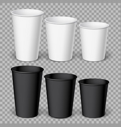 Realistics black and white disposable papers cups vector