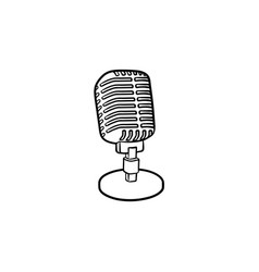 Retro vintage microphone hand drawn outline doodle vector