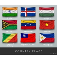 Riveted country flag wrinkled vector