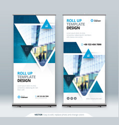 Roll up banner stand presentation concept vector