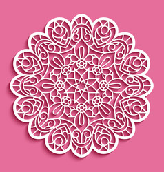 Round lace doily cutout paper pattern vector