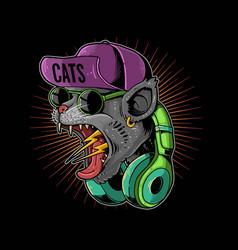 Screaming cat hypebeast teenager vector