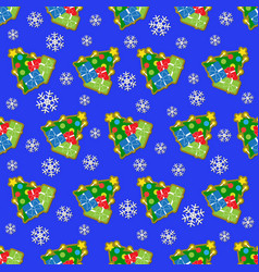 seamless wrapping paper and colored christmas tree vector image