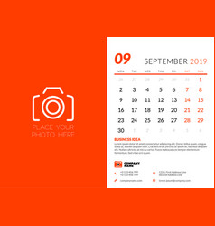 september 2019 desk calendar design template vector image