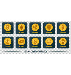 set of icons of different exchange cryptocurrency vector image