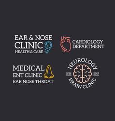 set of retro vintage organ ear brain nose logo vector image