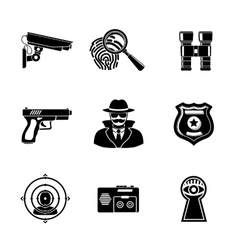 Set of Spy icons - fingerprint spy gun vector
