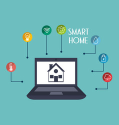 Smart house with laptop and set services icons vector