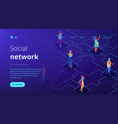 social network isometric 3d landing page vector image