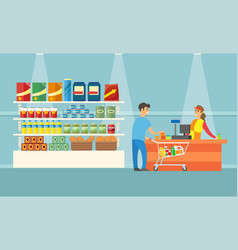supermarket cashier and client in shop vector image
