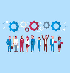 team of business people over cogwheel background vector image